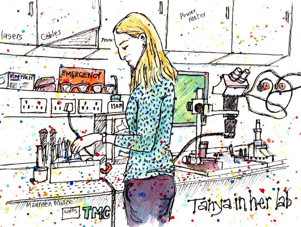 Illustration of Dr Tanya Hutter in her lab