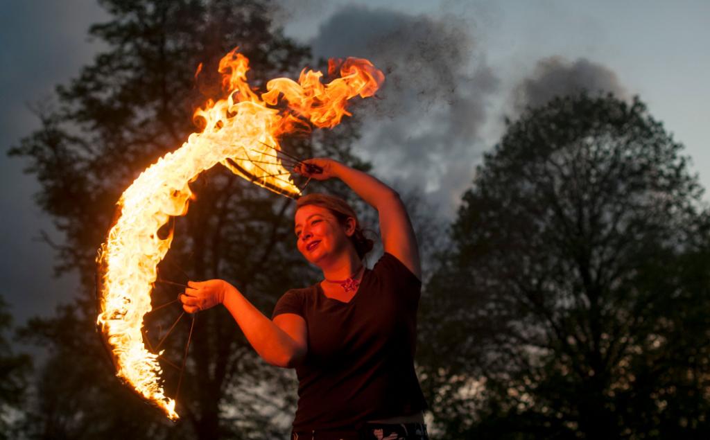 Jelena Aleksic entertaining with fire